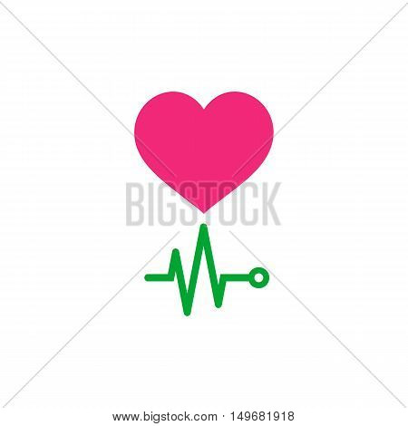 EKG. Life Icon Vector. Flat simple color pictogram