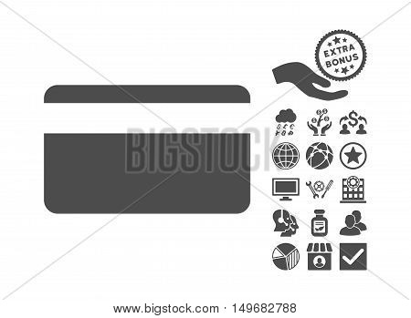 Plastic Card pictograph with bonus images. Vector illustration style is flat iconic symbols gray color white background.