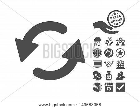 Refresh CCW icon with bonus images. Vector illustration style is flat iconic symbols gray color white background.