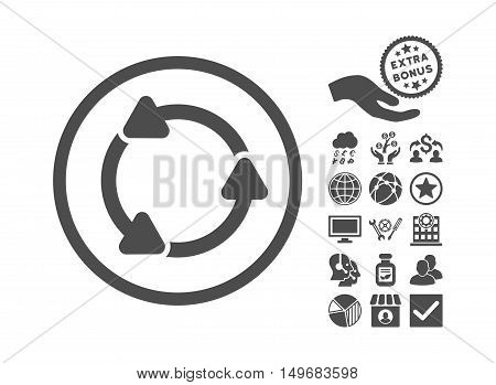 Rotate CCW pictograph with bonus pictogram. Vector illustration style is flat iconic symbols gray color white background.