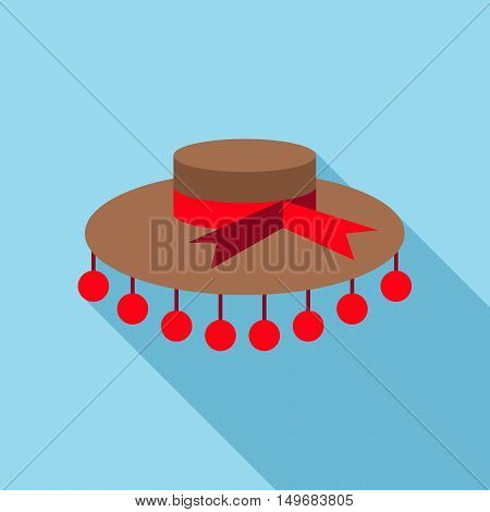 Womens hat with red bow icon in flat style with long shadow. Headwear symbol vector illustration