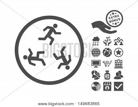 Running Men pictograph with bonus pictogram. Vector illustration style is flat iconic symbols gray color white background.