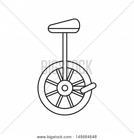 Unicycle, one wheel bicycle icon in outline style isolated on white background vector illustration