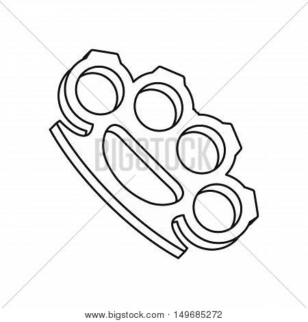 Brass knuckles icon in outline style isolated on white background vector illustration