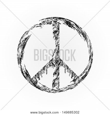 Peace symbol, sign pacifism. Black. Isolated element.