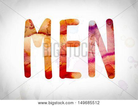 Men Concept Watercolor Word Art