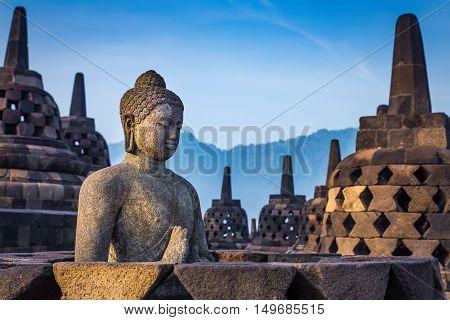 Buddha statue in Borobudur Temple Java island Indonesia.