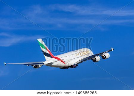 Kloten, Switzerland - 29 September, 2016: Emirates Airbus A-380 after taking off in the Zurich Airport (also known as the Kloten Airport). Emirates is an airline based in Dubai, United Arab Emirates, it is the largest airline in the Middle East.