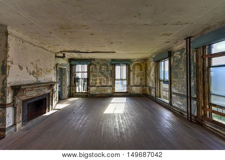 New York City - September 11, 2016: The abandoned Ellis Island Immigrant Hospital. It was the United States first public health hospital opened in 1902 and operating as a hospital until 1930.