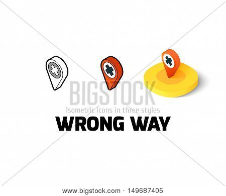 Wrong way icon, vector symbol in flat, outline and isometric style