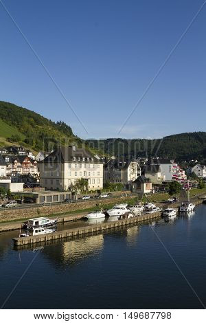 Cochem Germany - Aug 20 2016: Cityscape of Cochem from the Mosel river.