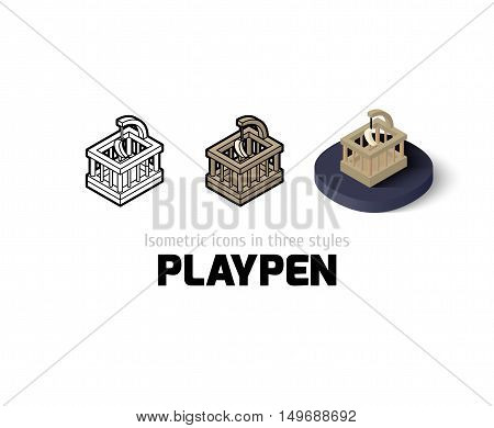 Playpen icon, vector symbol in flat, outline and isometric style