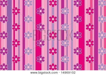Pink Stripes and Flowers