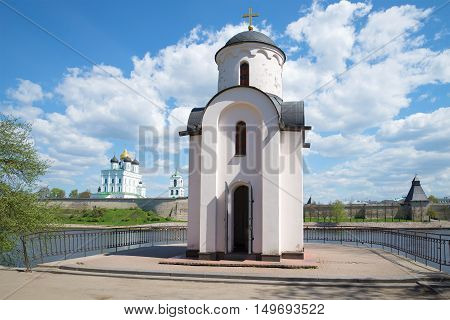 Chapel of St. Olga on the background of the Pskov Kremlin sunny day in May. Pskov Russia poster