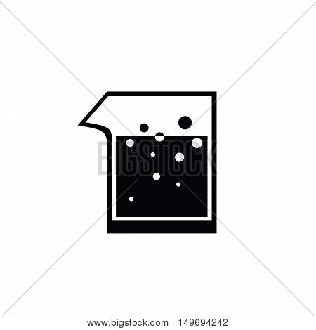 icon black test beaker lab, vector ESP10