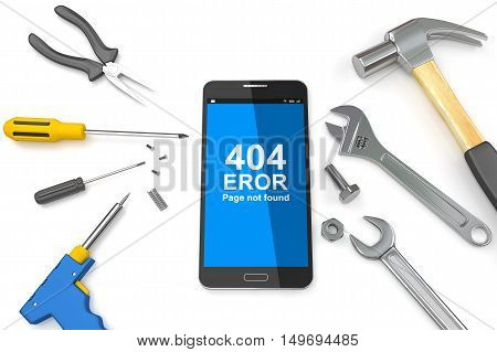 Page 404 error on Smartphone with tools, 404 error page,  page not found Error 404. 3D illustration