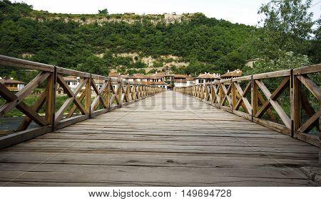 Wooden bridge through Yantr Veliko Tyrnovo's river, Bulgaria