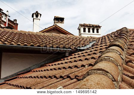 Roofs, flues. The picture is made in Veliko Tyrnovo, Bulgaria.