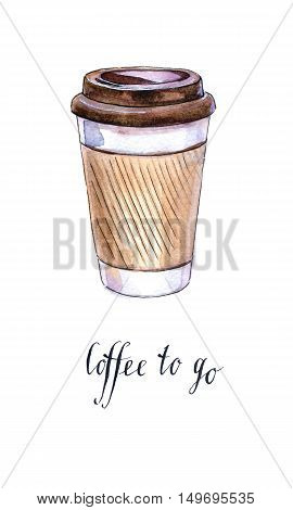 Take-out coffee with cup holder hand drawn - watercolor Illustration