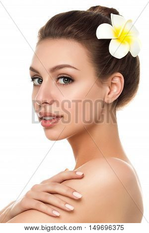 Portrait of young beautiful caucasian woman touching her shoulder isolated over white background. Cleaning face perfect skin. SPA therapy skincare cosmetology and plastic surgery concept