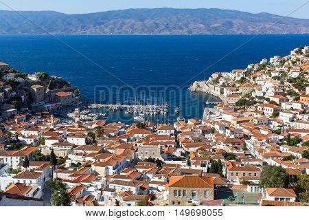 Hydra island, Greece - top view of city center and yaht marina.