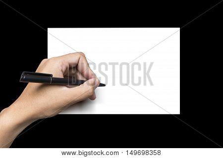 background, black, hand, left hand, paper, pen, white