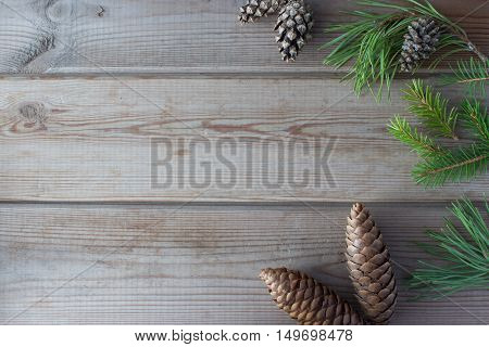 Christmas mock up with cones and Christmastree branches