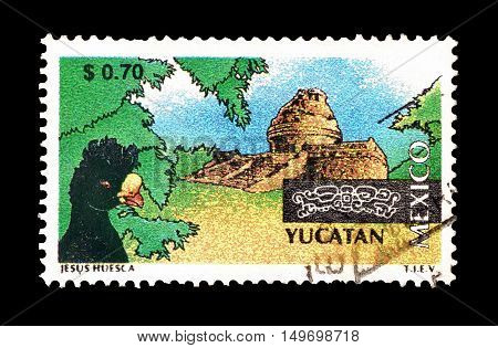 MEXICO - CIRCA 2001 : Cancelled postage stamp printed by Mexico, that shows Observatory of Chichen Itza.