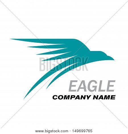 Vector sign blue eagle in flight concept