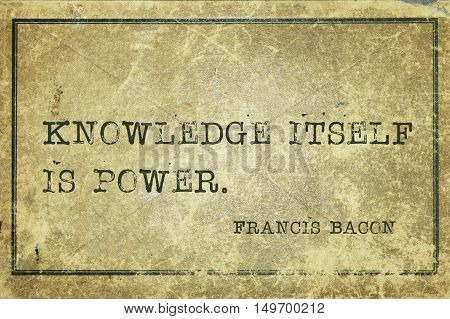 Knowledge Power Bacon