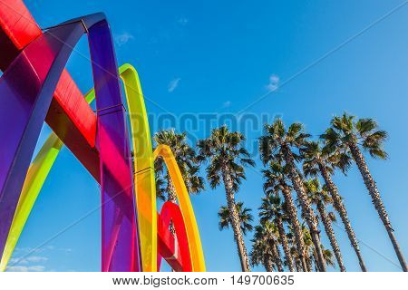 IMPERIAL BEACH, CALIFORNIA - OCTOBER 2, 2016:  Surfhenge artwork on the Pier Plaza by artist Malcolm Jones.