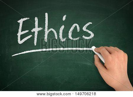 ethics chalkboard hand write 3d concept illustration