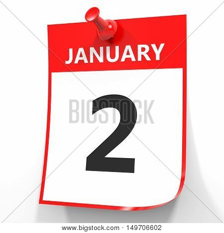 January 2. Calendar On White Background.
