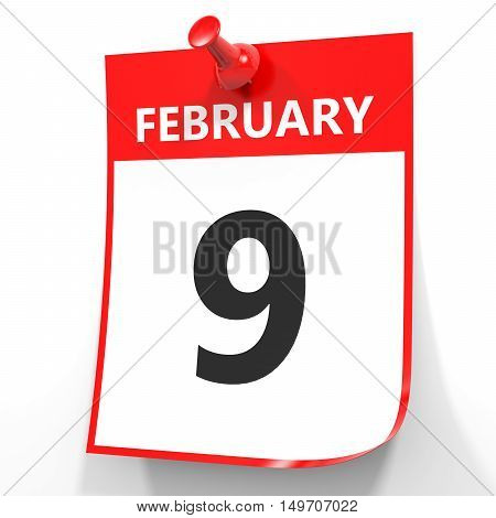 February 9. Calendar On White Background.