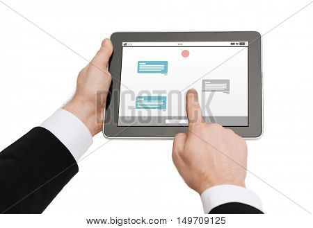 business, people, internet, online communication and technology concept - close up of man hands holding tablet pc computer with messenger on screen