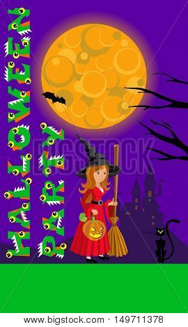 Halloween illustration of mysterious night landscape with castle full moon and witch for your design.