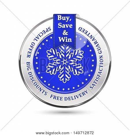 Winter sales blue icon with a big snowflake. Big winter sales stamp with a ribbon and a shiny icon: special offer, free delivery, satisfaction guaranteed. Buy, save and win
