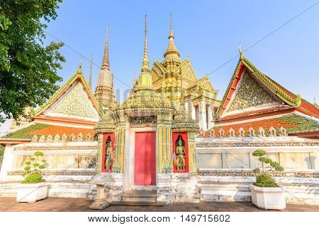 Art of Traditional Thai architecture temple Wat Poe