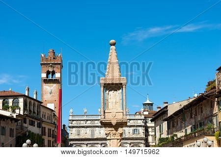 Piazza delle Erbe is the oldest square in Verona (UNESCO heritage) and rises over the area of the Roman Forum. Veneto Italy