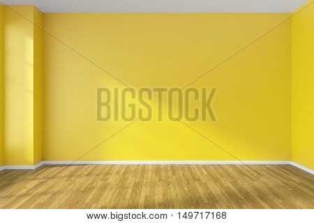 Empty room with hardwood parquet floor yellow walls and sunlight from window on the wall minimalist interior 3d illustration