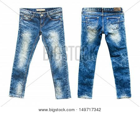 Detail of nice blue jeans on white background