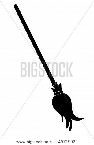 Halloween Creepy Scary Witches Broomstick Vector Symbol Icon Design.