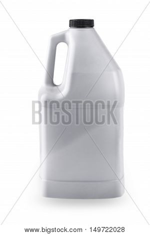 Grey plastic canister for household chemicals. Isolated on a white.