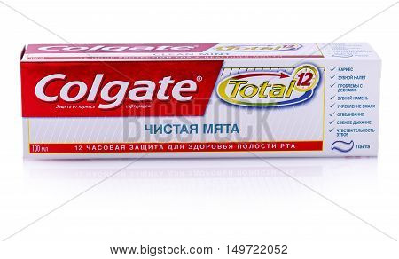 PETROPAVLOVSK-KAMCHATSKY KAMCHATKA- SEPTEMBER 25 2016 : Image of Colgate toothpaste. Colgate toothpaste was first sold in 1873 and is now sold worldwide.