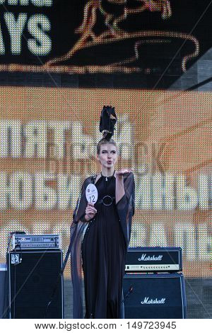 St. Petersburg, Russia - 12 August, Model sending a kiss,12 August, 2016. Beauty contest