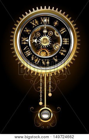 Pendulum clock in the style of steampunk gold and brass gears on a black background. Steampunk style. Design with gears. Technical Design. Gold gear.