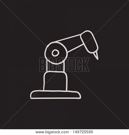 Industrial mechanical robot arm vector sketch icon isolated on background. Hand drawn Industrial mechanical robot arm icon. Industrial mechanical robot arm sketch icon for infographic, website or app.