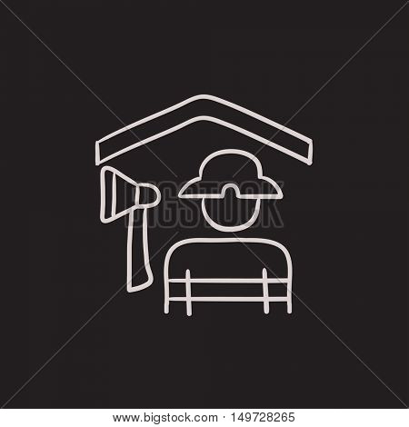 Fireman vector sketch icon isolated on background. Hand drawn Fireman icon. Fireman sketch icon for infographic, website or app.