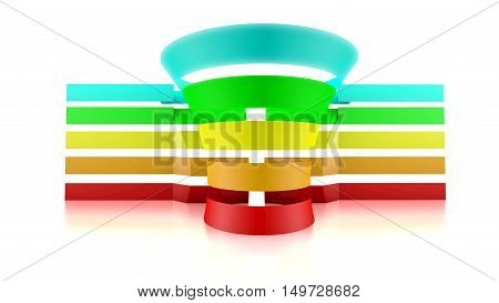 3D funnel with five colored tape. Space available for text and values. 3D Rendering