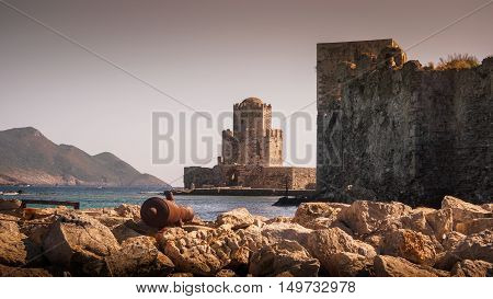 A view of Methoni Castle Nr Messini Greece.